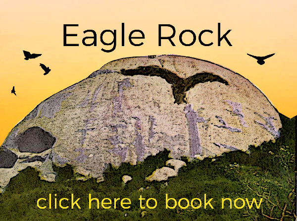 Eagle Rock with birds and sunset